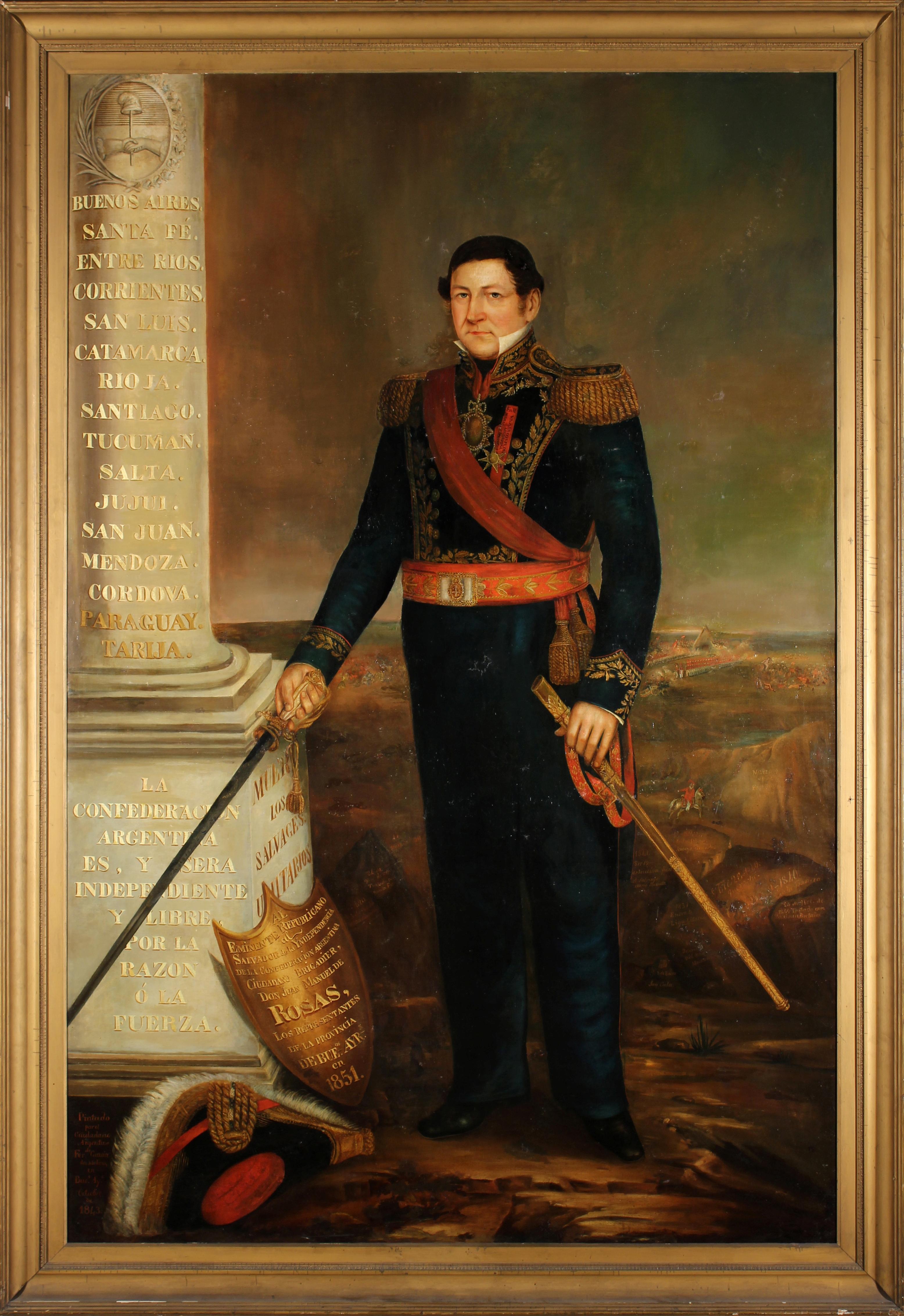 """Retrato del General Juan Manuel de Rosas"""". Cuerpo entero. Óleo sobre tela. Autor: Fernando García del Molino, Buenos Aires."""